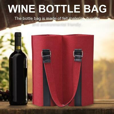 Wine Carrier Felt Tote Bag Two Bottle Bottle Holder With Secure Carry Handle