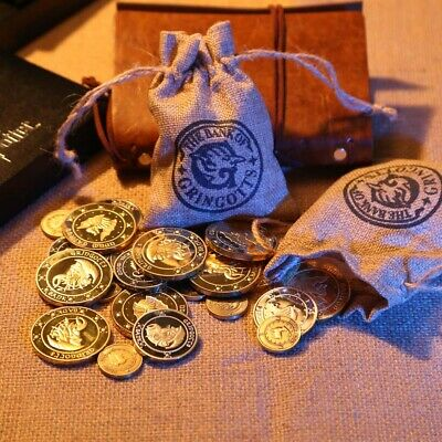 3PCS Harry Potter Hogwarts Gringotts Wizard Bank Coin Collection Cloth Bank Bag