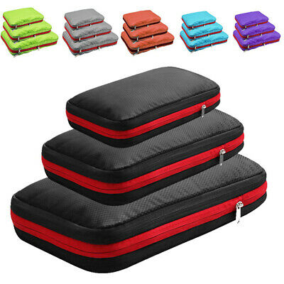 Storage Bag Compression Packing Cubes, Travel Luggage Organizers W/ 2 Compartmen