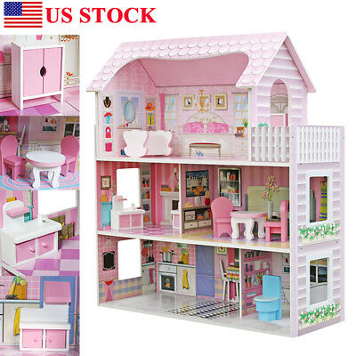 Large Children's Wooden Pink Dollhouse Fits Barbie Doll House &8 pcs Furniture H