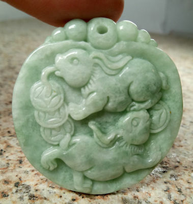 Certified Light Green Natural Grade A Jade jadeite Carved Rabbit Coin Pendant AA