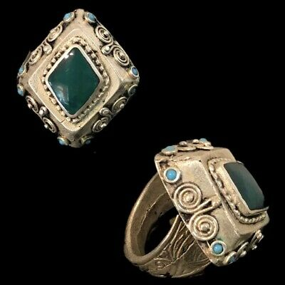Ancient Silver Decorative Gandhara Bedouin Ring With Green Stone  (1)
