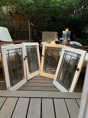 Antique Rare leadlight panels X4