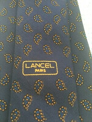 Lancel Men's silk tie in navy blue paisley print