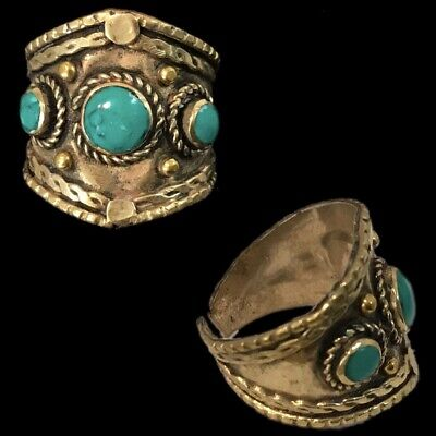 Ancient Silver Decorative Gandhara Bedouin Ring With Green Stone (3)