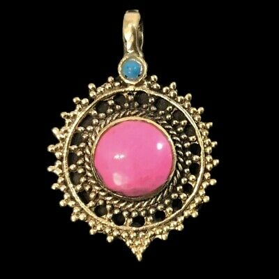 Ancient Silver Decorative Gandhara Bedouin Pendant With Pink Stone (4)