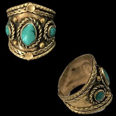 Ancient Silver Decorative Gandhara Bedouin Ring With Green Stone (5)