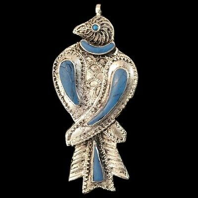 Ancient Silver Gandhara Bedouin Bird Pendant With Blue Stone (2)