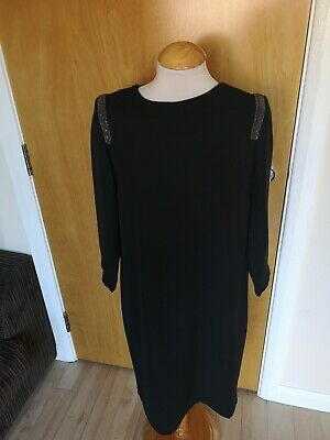 Ladies Dress Size 12 M&S Black Tunic Beaded Trim Party Evening Cruise Occasion