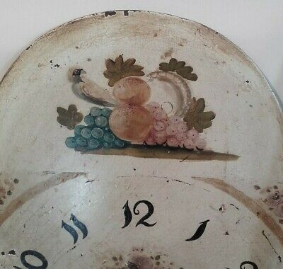 Antique Painted / Enamelled Clock  Face / Pendulem  Grandfather Longcase Clock