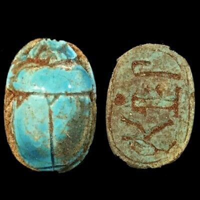 Beautiful Ancient Egyptian Blue Glazed Scarab 300 Bc (5)