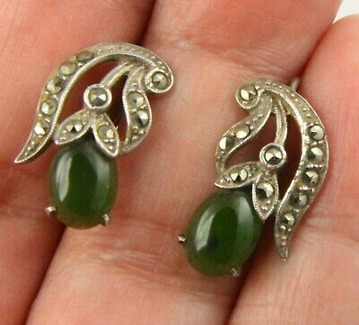 Vintage Art Deco c 1930's silver green stone cabochon & marcasite earrings