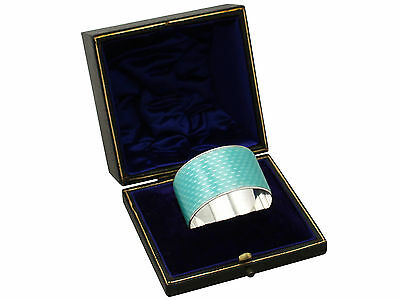 Antique George V Sterling Silver and Enamel Napkin Ring by Adolph Scott 27.2g