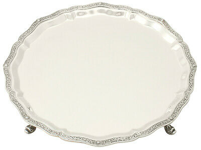 Sterling Silver Salver by Wakely & Wheeler - Lindisfarne Style - Vintage