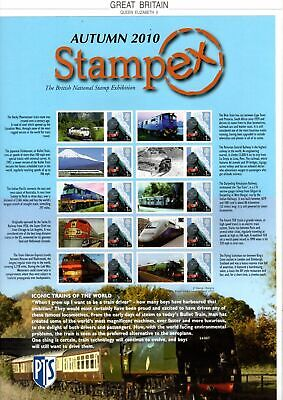 2010 Autumn Stampex Iconic Trains of the World Smiler sheet MNH & VGC stamps