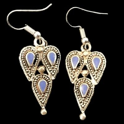 Very Rare Ancient Silver Earrings With Blue Stones (10)