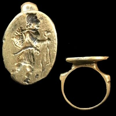 Rare Ancient Bronze Near Eastern Pictorial Ring 300 B.c.  (1)
