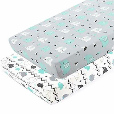 Pack N Play Stretchy Fitted Playard Sheet Set-Brolex 2 Pack Portable Mini Crib