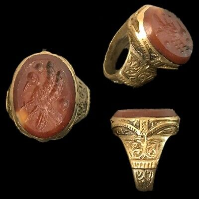 Stunning Top Quality Carnelian Intaglio Seal Stone Ring (6)