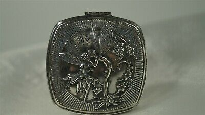 1925 Kissing Fairies Djer Kiss by Rowland Smith Silverplate Makeup Compact Duo