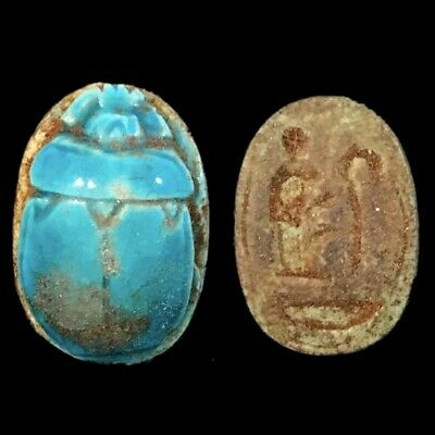 Beautiful Ancient Egyptian Blue Glazed Scarab 300 Bc (7)