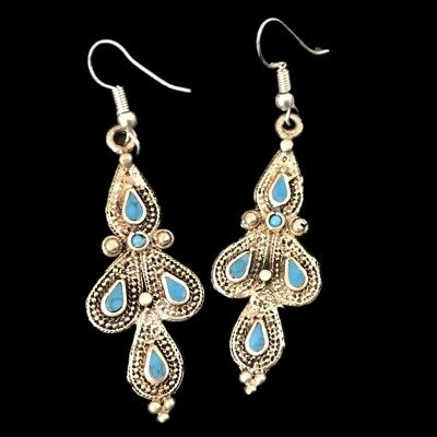 Very Rare Ancient Silver Earrings With Blue Stones (14)