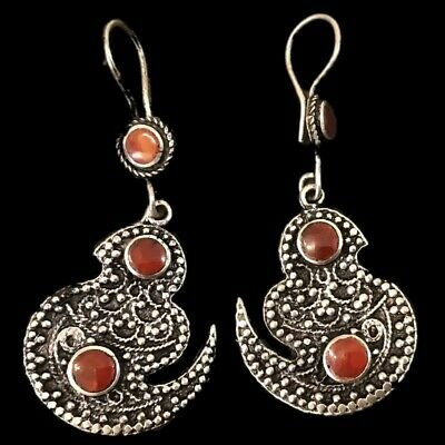 Very Rare Ancient Silver Bird Earrings With Carnelian Stones (15)