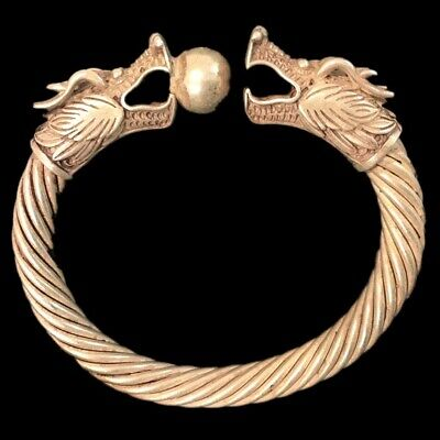 Rare Ancient Twisted Viking Silver Torc With Beast Head Terminals 300 B.c. (2)