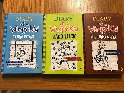 Diary of a Wimpy Kid Hardbacks x 3.  Cabin Fever, The Third Wheel, Hard Luck.