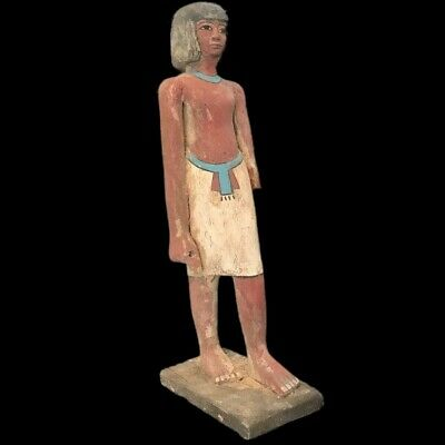 BEAUTIFUL ANCIENT HUGE EGYPTIAN WOODEN STATUE 300 BC (1) 45.5 Cm TALL !!!!!
