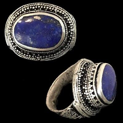 Stunning Top Quality Post Medieval Silver Ring With A Lapiz Stone (8)
