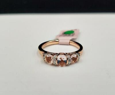 QVC 10k Rose Gold over Sterling 3 Stone Morganite Diamond Ring Sz 6.75