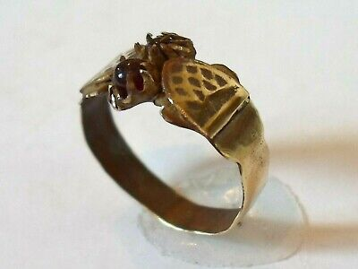 X-Mas Gift,Detector Find&Polished,Post Medieval Bronze Ring With Real Gemstones.