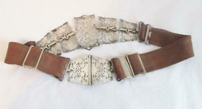 RARE VICTORIAN - EDWARDIAN NURSES BELT LEATHER with SILVER PLATE BUCKLE & BACK