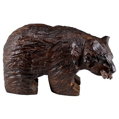 """Hand Carved Wood Wooden Ironwood Bear With Fish Figurine 4"""" Long Made In USA"""
