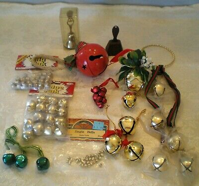 Lot Assorted 85 Jingle Bells ~Tiny to Huge  ~Christmas Gold / Silver /Red /Green