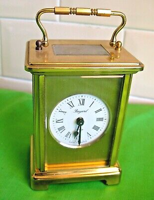 Vintage Brass French BAYARD carriage 8 day clock with bevelled glass