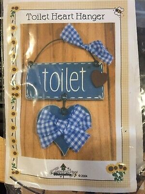 Wooden Cut Out Toilet Heart Hanger Kit - NEW