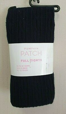 BNWT Pumpkin Patch Brand Girls 10 to 12 Yrs Cable Knit Navy Footed Style Tights