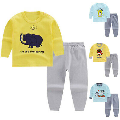 Kids Baby Thermal Winter  Pullover Shirts Round Neck Long Sleeve Tops Pants Set