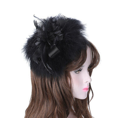 Ladies Feather Fascinators Hair Clips Wedding Pin Slide Costume Hair Accessories