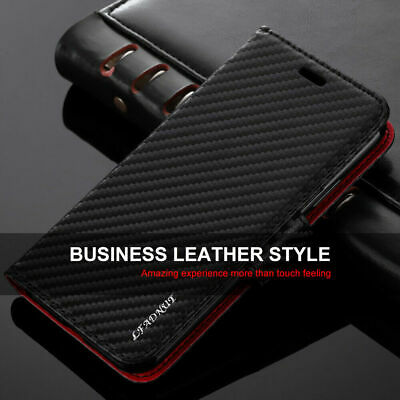 Luxury Case For iPhone 7 8 11 XS XR Carbon Leather ShockProof Wallet Flip Cover
