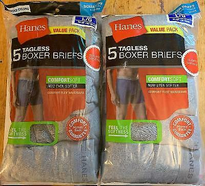 Hanes Tagless Boxer Briefs 10 Pack Mens Assorted Colors & Bands M L and XL!!