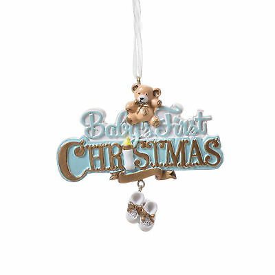 Infant's First Soft Blue 4 x 3 Resin Stone Holiday Decorative Hanging Ornament