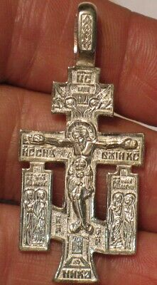 RUSSIAN GREEK ORTHODOX CROSS Pendant STERLING SILVER CRUCIFIX Ag 925 Jesus Big 1