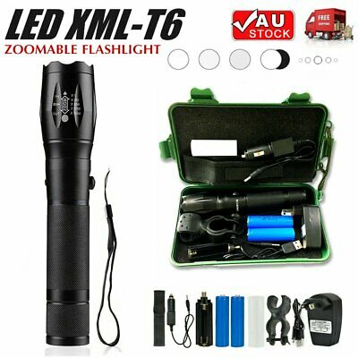 Zoomable XM-L T6 LED Flashlight Rechargeable Battery Tactical Torch 5 Modes