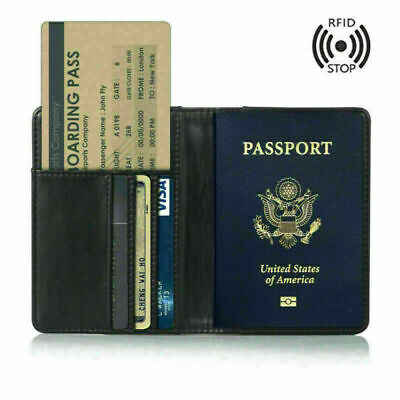 Slim Leather Travel Passport Wallet Holder RFID Blocking ID Card Case Cover Bag
