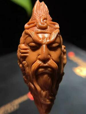 Excellent Chinese Olive Nut Pure Hand-carved Lucky *Dragon Kuan Kung**关羽* Bead