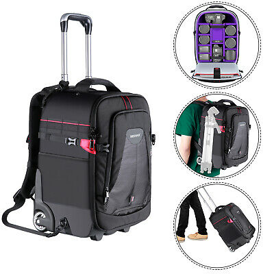 Neewer 2-in-1 Rolling Camera Backpack Trolley Case Anti-shock Detachable