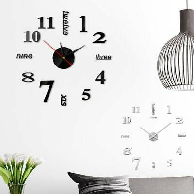 DIY Extra Large Numerals Luxury Mirror Wall Sticker Clock Home Decor Gifts uk